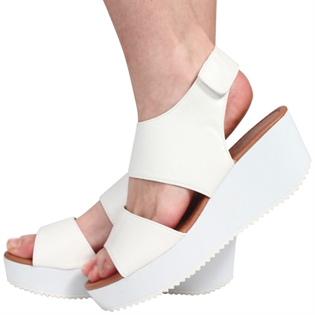CS13 LADIES VELCRO STRAP PEEPTOE FLATFORM SHOES IN WHITE
