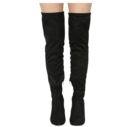 CORA LADIES THIGH HIGH LOW HEEL OVER THE KNEE STRETCH BOOTS