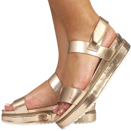 CS16 LADIES FLATFORMS SUMMER VELCRO BACK STRAP SANDALS SHOES IN METALLIC CHAMPAGNE