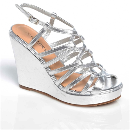 CHIPO LADIES WEDGE ANKLE STRAP PLATFORM SUMMER SHOES IN SILVER