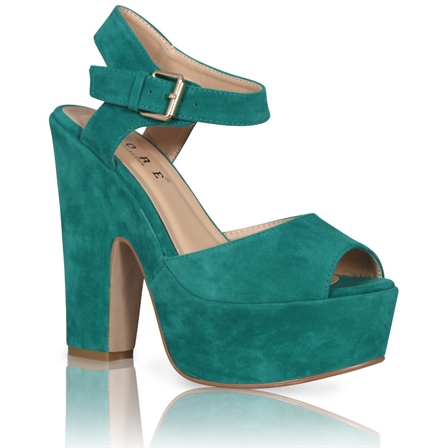 DAWN LADIES PLATFORM HIGH CHUNKY HEEL PEEP TOE ANKLE STRAP SHOES IN GREEN SUEDE