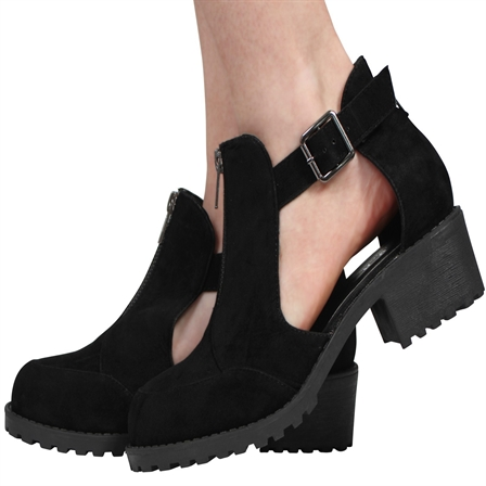 GL04 LADIES CUT OUT BUCKLE GRIP SOLE BLOCK HEEL ANKLE SHOES IN BLACK SUEDE