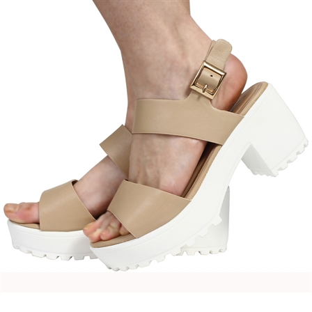 CS12 LADIES BUCKLED FASTENED STRAPPED CLEATED LOOKED SOLE MID PLATFORMED PEEPTOE SANDALED SHOES IN NUDE