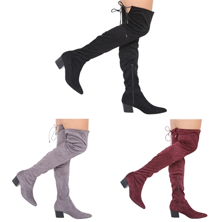 NEW LADIES THIGH HIGH MID HEEL OVER THE KNEE STRETCH BOOTS SIZE 3-8