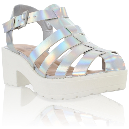 YASMIN LADIES BLOCKED PLATFORM MID HEEL CHUNKY SOLE ANKLE STRAP GLADIATOR SANDALS IN SILVER HOLOGRAM