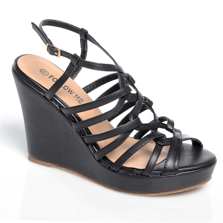 CHIPO LADIES WEDGE ANKLE STRAP PLATFORM SUMMER SHOES IN BLACK