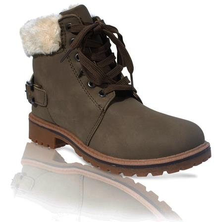 MK-60 LADIES LACE UP FURLINED WINTER WARM ANKLE BOOT IN KHAKI