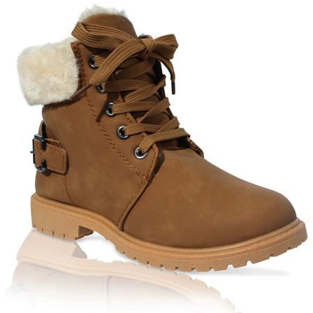 MK-40 GIRLS KIDS CHILDRENS FURLINED GRIP SOLE WINTER WARM ANKLE BOOTS IN CAMEL