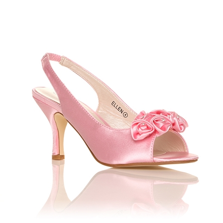 ELLEN SATIN LOW HEEL BRIDAL PROM PARTY BRIDESMAID FORMAL SHOES IN PINK