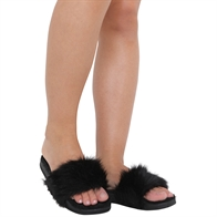 NEW WOMENS LADIES FLAT FULLY FAUX FUR COMFY SLIDER SANDAL SIZE 3-8