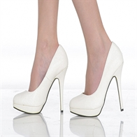 EVE LADIES  STILETTO HIGH HEEL COURT SHOES IN WHITE GLITTER