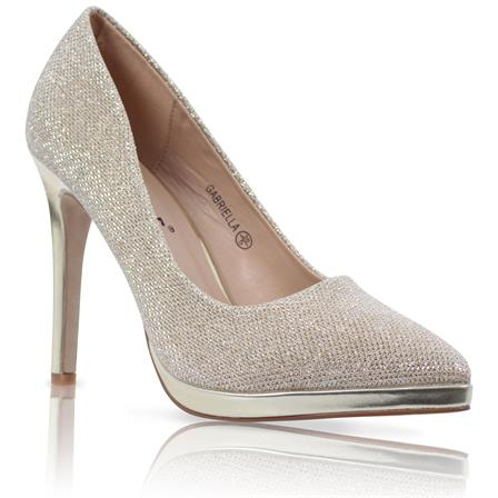 GABRIELLA LADIES POINTED STILETTO HIGH HEEL PLATFORM COURT SHOES IN GOLD GLITTER