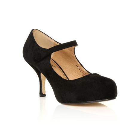 H213 LADIES NEW STRAP LOW HEEL CASUAL SMART WORK COURT SHOES  IN BLACK SUEDE