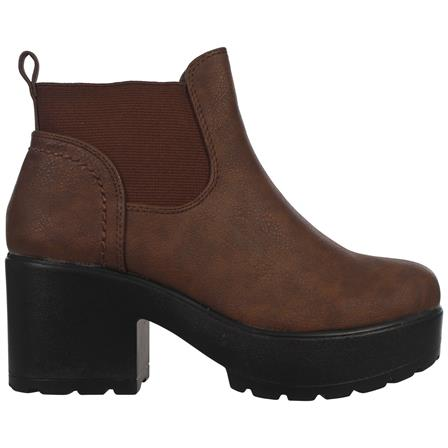 CS21 GIRLS KIDS CHILDREN CHUNKY SOLE ANKLE SCHOOL CASUAL CHELSEA BOOTS IN BROWN PU