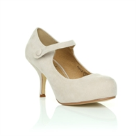 H213 LADIES NEW STRAP LOW HEEL CASUAL SMART WORK COURT SHOES IN NUDE SUEDE