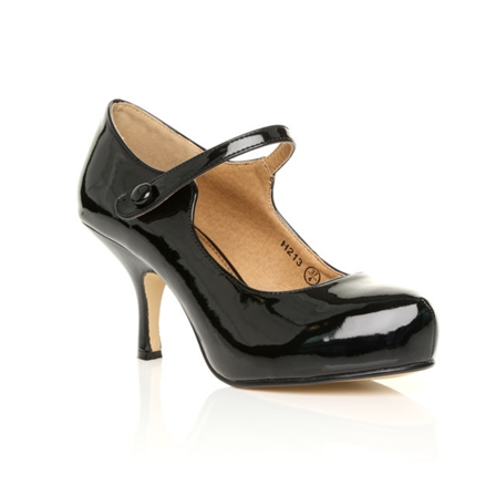 H213 LADIES NEW STRAP LOW HEEL CASUAL SMART WORK COURT SHOES IN BLACK PATENT
