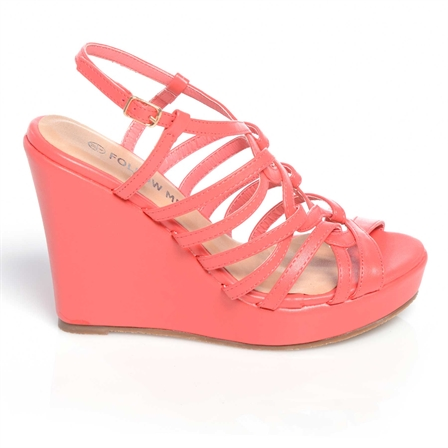 CHIPO LADIES WEDGE ANKLE STRAP PLATFORM SUMMER SHOES IN CORAL