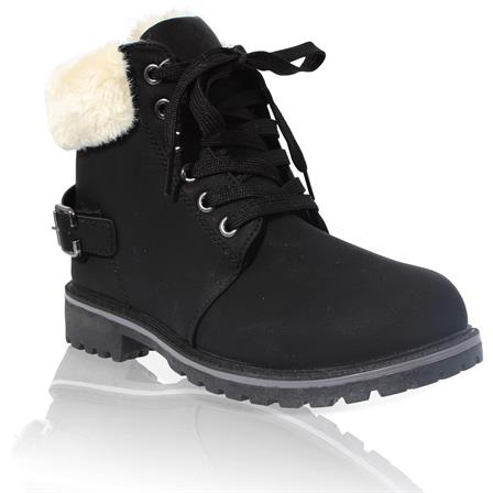 MK-60 LADIES LACE UP 	FURLINED WINTER WARM ANKLE BOOT IN BLACK