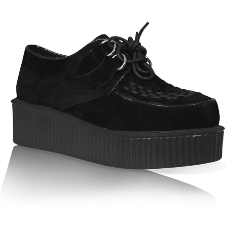 GL02 LADIES FLATFORM LACE UPS GOTH PUNK ROCKER CREEPER SHOES IN BLACK