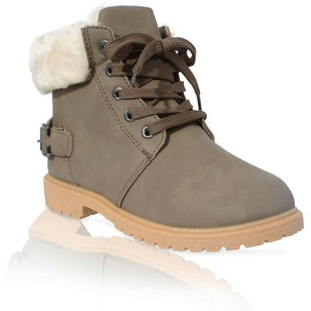 MK-40 GIRLS KIDS CHILDRENS FURLINED GRIP SOLE WINTER WARM ANKLE BOOTS IN KHAKI