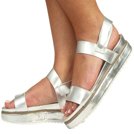 CS16 LADIES FLATFORMS SUMMER VELCRO BACK STRAP SANDALS SHOES IN METALLIC SILVER