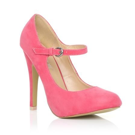 MISCHA NEW JERSEY ADJUSTABLE STRAP HIGH HEEL SHOES IN CORAL SUEDE