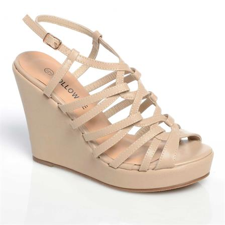 CHIPO LADIES WEDGE ANKLE STRAP PLATFORM SUMMER SHOES IN NUDE