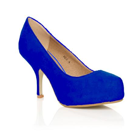 ADA LADIES MID HEEL STRAPLESS CASUAL SMART WORK COURT SHOES IN BLUE SUEDE