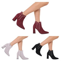 NEW WOMENS LADIES HIGH HEEL ZIP UP CHELSEA ANKLE BOOTS STUDDED SHOES 3-8