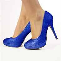 EVE LADIES  STILETTO HIGH HEEL COURT SHOES IN BLUE GLITTER