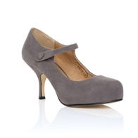 H213 LADIES NEW STRAP LOW HEEL CASUAL SMART WORK COURT SHOES IN GREY SUEDE