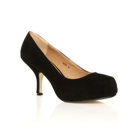 ADA LADIES MID HEEL STRAPLESS CASUAL SMART WORK COURT SHOES IN BLACK SUEDE