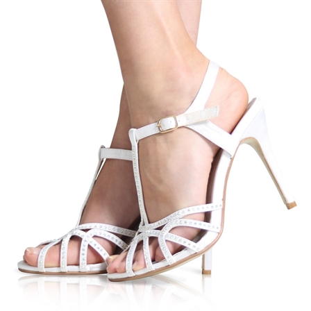 AGGIE LADIES ANKLE STRAP DIAMANTE BRIDAL WEDDING PROM PARTY SHOES IN WHITE SATIN