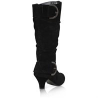 WOMENS LADIES MID HEEL WINTER TWIN BUCKLE ZIP CALF KNEE RIDING SHOES BOOTS SIZE 3-8