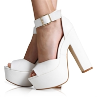 SELINA LADIES ANKLE STRAP CHUNKY PLATFORM HEEL IN WHITE PU