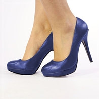EVE LADIES STILETTO HIGH HEEL COURT SHOES IN NAVY PU