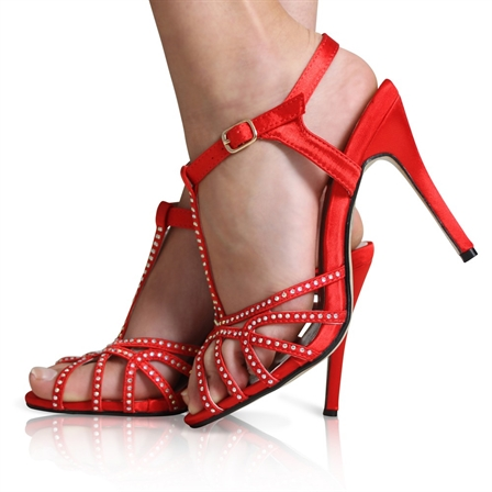 AGGIE LADIES ANKLE STRAP DIAMANTE BRIDAL WEDDING PROM PARTY SHOES IN RED SATIN