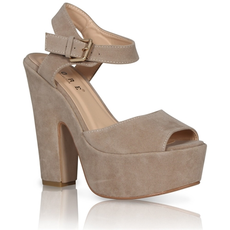DAWN LADIES PLATFORM HIGH CHUNKY HEEL PEEP TOE ANKLE STRAP SHOES IN STONE SUEDE
