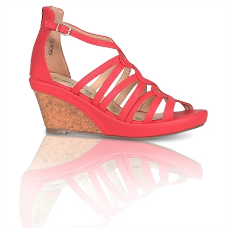 ACACIA LADIES FASHION ANKLE STRAP WEDGED PLATFORM SHOES IN CORAL