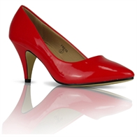 FREYA LADIES MID HEEL CASUAL SMART WORK COURT SHOES IN RED PATENT