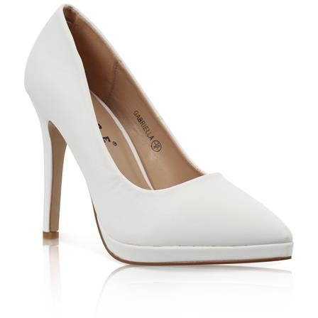 GABRIELLA LADIES POINTED STILETTO HIGH HEEL PLATFORM COURT SHOES IN WHITE PU