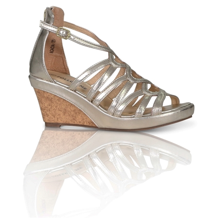 ACACIA LADIES FASHION ANKLE STRAP WEDGED PLATFORM SHOES IN SILVER