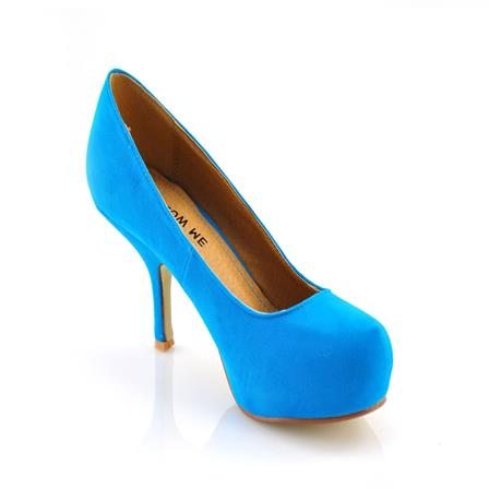 ADA LADIES MID HEEL STRAPLESS CASUAL SMART WORK COURT SHOES IN TURQUOISE SUEDE