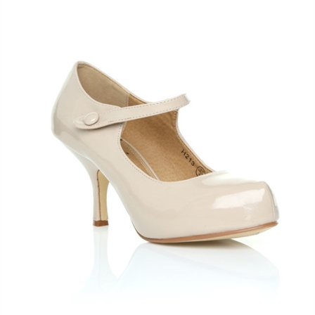 H213 LADIES NEW STRAP LOW HEEL CASUAL SMART WORK COURT SHOES IN NUDE PATENT