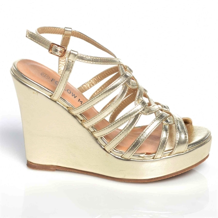 CHIPO LADIES WEDGE ANKLE STRAP PLATFORM SUMMER SHOES IN GOLD