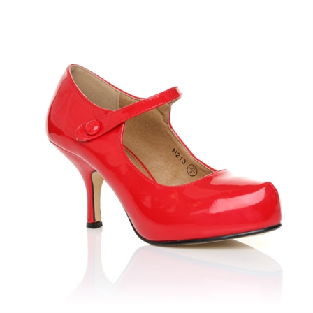 H213 LADIES NEW STRAP LOW HEEL CASUAL SMART WORK COURT SHOES IN RED PATENT