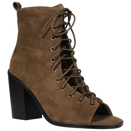DON LADIES WOMENS ANKLE BOOTS LADIES BLOCK HEELS CUT OUT PEEP TOE LACE UP SHOES IN KHAKI SUEDE