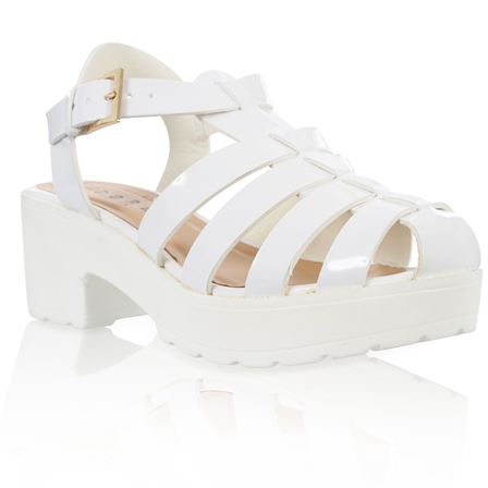 YASMIN LADIES BLOCKED PLATFORM MID HEEL CHUNKY SOLE ANKLE STRAP GLADIATOR SANDALS IN WHITE PATENT