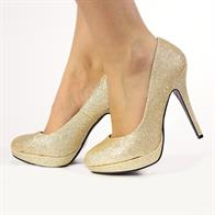 EVE LADIES  STILETTO HIGH HEEL COURT SHOES IN CHAMPAGNE GLITTER