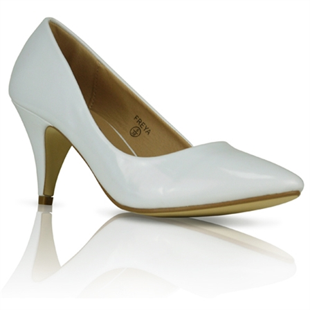 FREYA LADIES MID HEEL CASUAL SMART WORK COURT SHOES IN WHITE PATENT